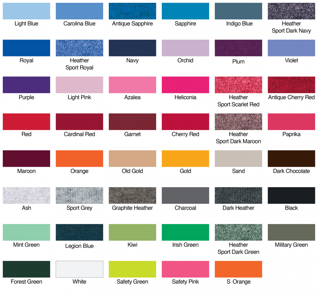 Gildan G185 Hoodie Colour Chart